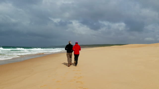 Middle-aged Couple Jogging on Ocean Sandy Beach, view on back video