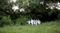Midsummer. People were running in Slavic clothes. video