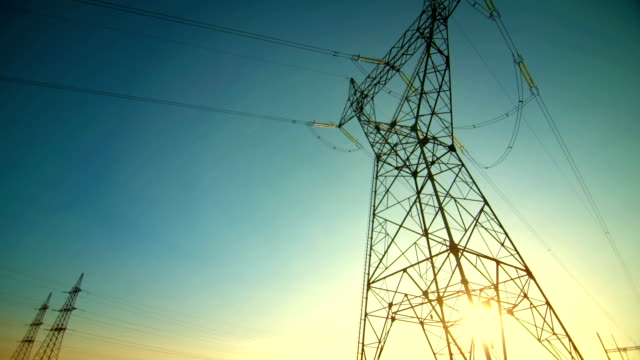 Mighty Electricity Pylons At Dusk video
