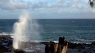 SLOW MOTION: Mighty ocean wave splashing through blowhole at rocky seashore video