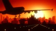 Milan Airplane Landing Skyline Golden Background video