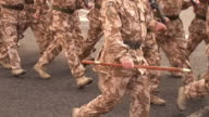 Military Army soldiers marching on the road - Homecoming Parade video
