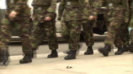 Military Army Soldiers / Troops marching in Camouflage outdoors video