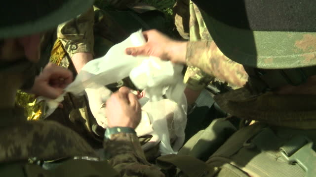 Military education and training-wounded in the face video