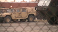 Military equipment. Army trucks and cars. Secured area. video