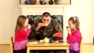 Military Father Playing with His Young Daughters video