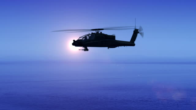 Military Helicopter Flying Over The Ocean video