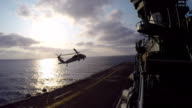 Military Helicopter Taking Off From Ship video