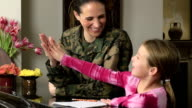 Military Mom Helps Daughter with Homework video