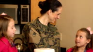 Military Mom Unloads Groceries with her Daughters video