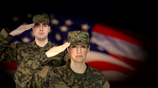Military Personnel Salute with US Flag Background video