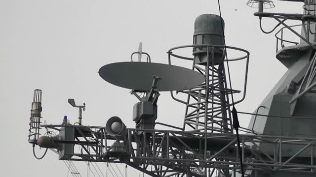 military radar on a warship video