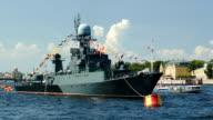 Military ship on Neva river, St. Petersburg video