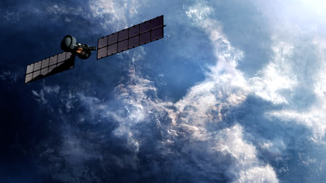 Military spy satellite over earth surface. video