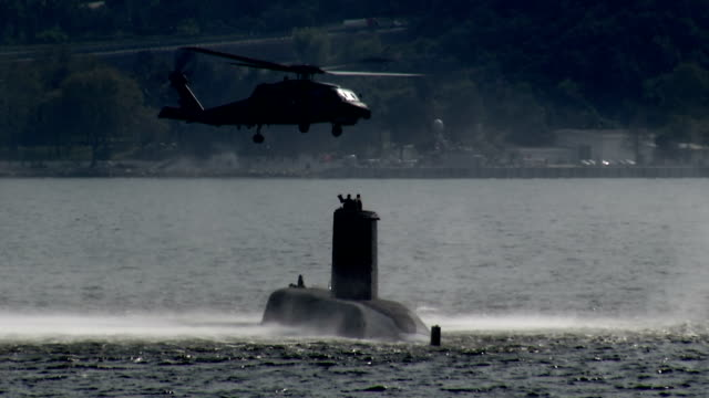 Military submarine into Bosporus waters with S-70B-28 SEAHAWK helicopter video