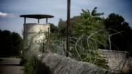 Military Watchtower with barbed wire video