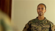 Military Woman Dressing in Front of Mirror video