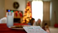 Milk and cookies waiting on table in living room for Santa Clause at Christmastime video