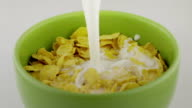 milk falling on a cereal bowl in slow motion video