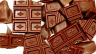 Milk gradually fills chocolate pieces video