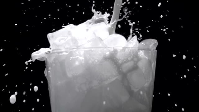 Milk pouring into glass, Slow Motion video