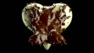 Milky heart shape and hot chocolate splashes, slow motion video