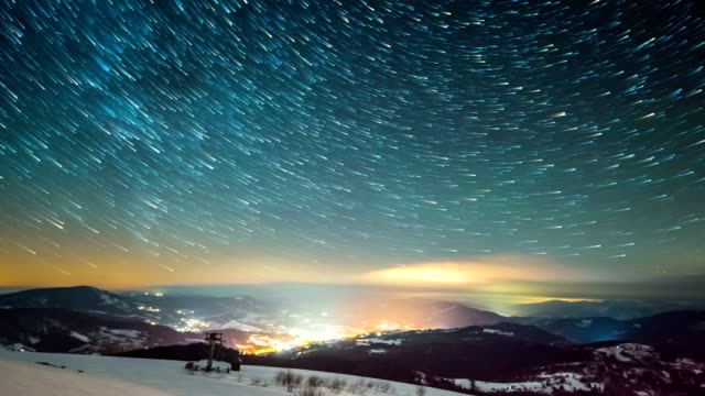 Milky way time lapse in Carpathian Mountains video