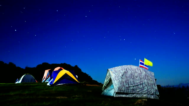 Milky way timelapse at Chiangmai, Thailand with the travelers's tents on front. Near dawn and in the morning. video