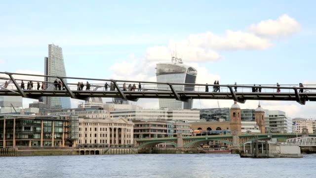 Millenium Bridge over Thames River video