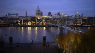 Millennium Bridge and Saint Paul's at Dusk video