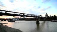 Millennium Bridge at sunset video