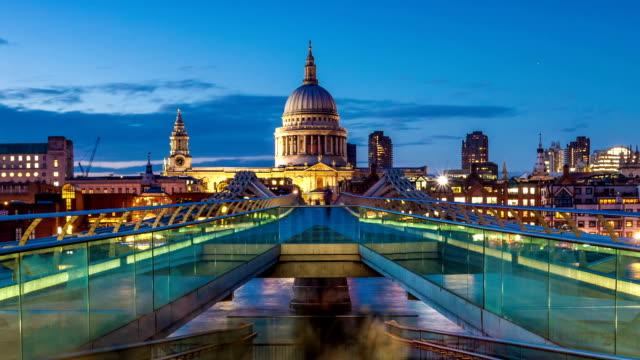 Millennium bridge day to night, London video