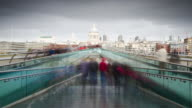 Millennium Bridge time lapse with St Paul's Cathedral video