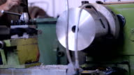A milling machine operator prepares the machine to the beginning of works. Replacement blade cutter head video