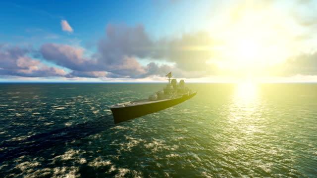 US Millitary Battleship Navigating at Sea,Beautiful Sunset video