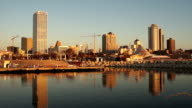 Milwaukee Wisconsin Waterfront Urban City Skyline Lake Michigan USA video