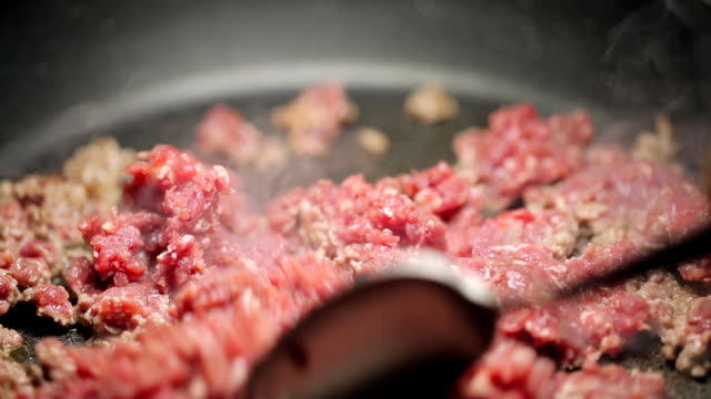Minced meat being mixed in a pan by spoon video