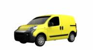 Mini van spin isolated with luma matte video