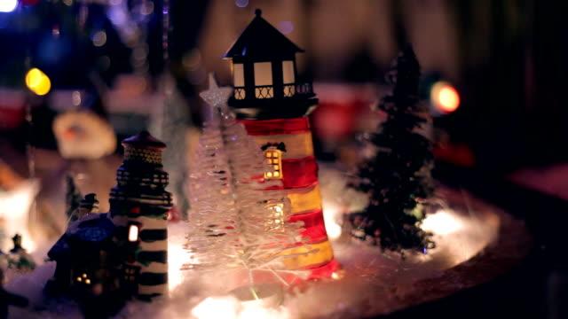 Miniature Train under Xmas Tree at Night video