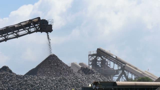 Mining industry quarry gravel excavator conveyor machinery video