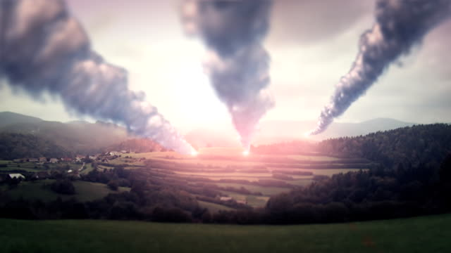 Missiles flying over landscape video