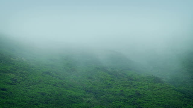 Mist Rolls Across Rugged Hillside video