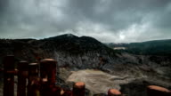 Misty and cloudy view of Tangkuban Perahu volcano crater in Bandung, Indonesia. FullHD Timelapse - Java, Indonesia video