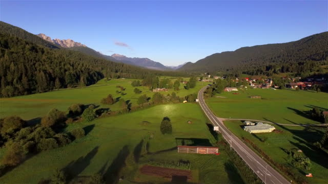 AERIAL: Misty morning in beautiful vast mountain valley town video