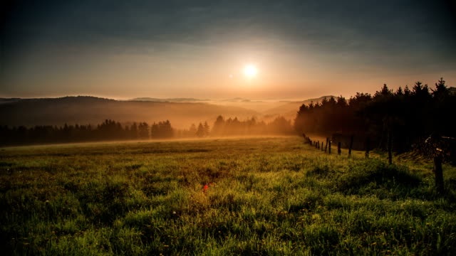 CRANE UP: Misty Morning Landscape video