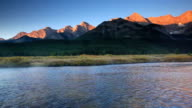 Misty Mountain river in the Canadian Rockies and Alpine Glow video