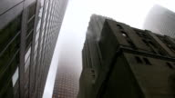 Misty office buildings. 'Gotham city' style. video