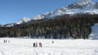 Misurina Lake covered by Ice and Snow, Italy video