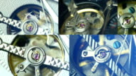 Mix of clips showing tourbillon watch close up to 4K video