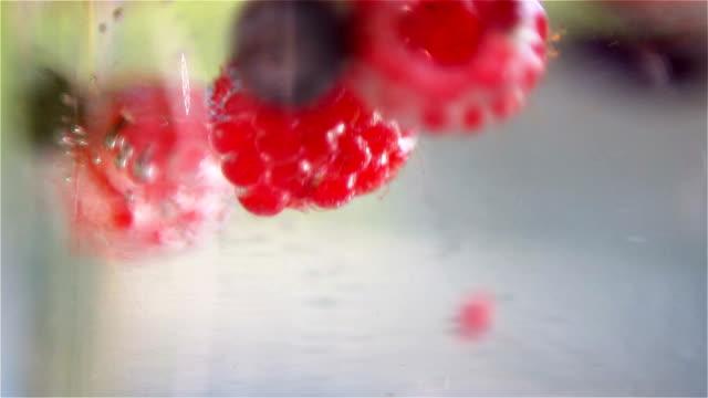 Mixed berries falling down in water video